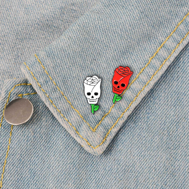 Estilo Na Moda Ghothic 2 Românico Broche de Esmalte Vermelho e Rosa Branca Fantasma Rosto Amante Dia Dos Namorados presentes Jóias Amante presente