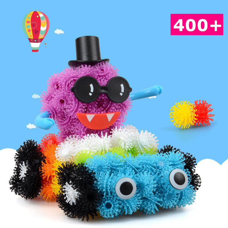 ФОТО 2016 hot selling thorn ball hair ball fur ball building blocks kits construction set educational toys for children
