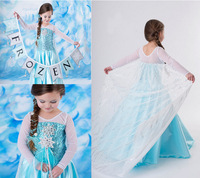 2017 Snow Queen Elsa Dress Children Kids New Christmas Cosplay Costume Blue Ice Toddler Girls Anna