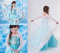 2017 Snow Queen Elsa Dress Children Kids New Christmas Cosplay Costume Blue Ice Toddler Girls Anna