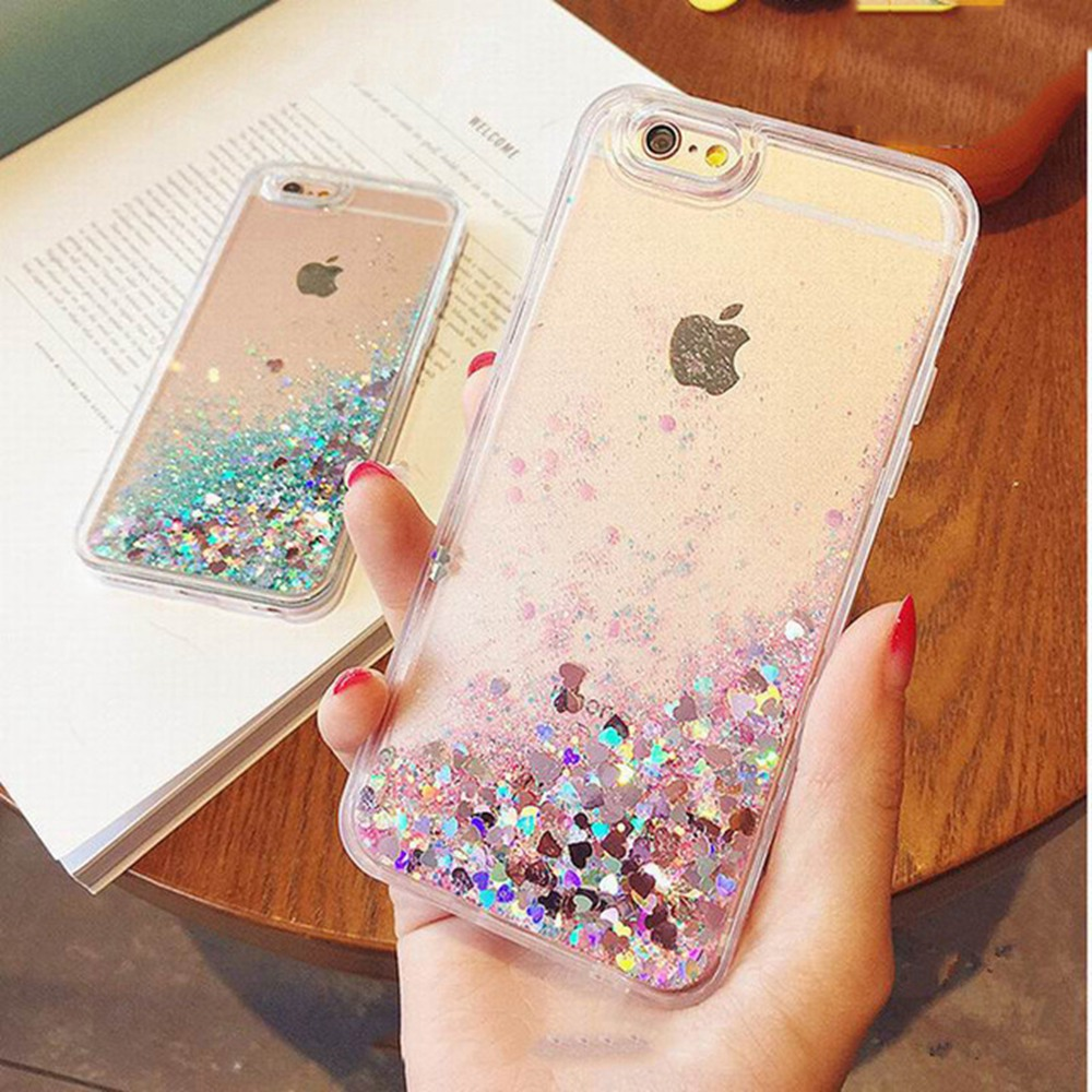 KISSCASE For iPhone 7 7 Plus Case Transparent Hard PC Coque Luxury Glitter Heart Quicksand Protective Cover For iPhone 7 7 Plus wallet