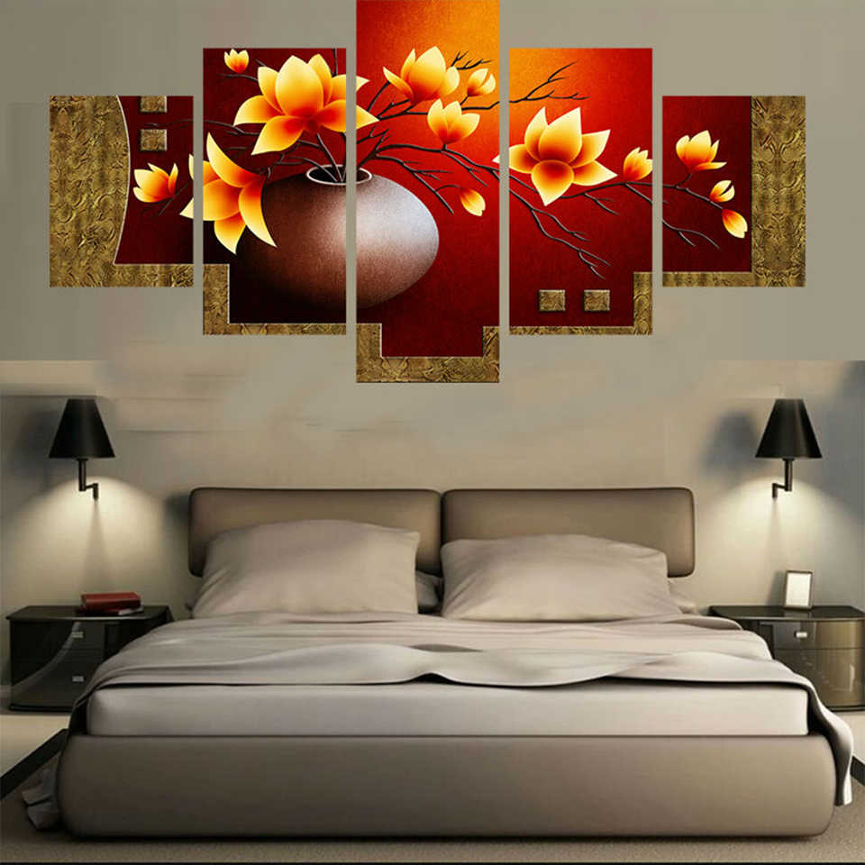 Art Frame Modern Canvas Painting Wall 5 Panel Flower Modular Picture Home Decoration Print On For Living Room Canvas Poster