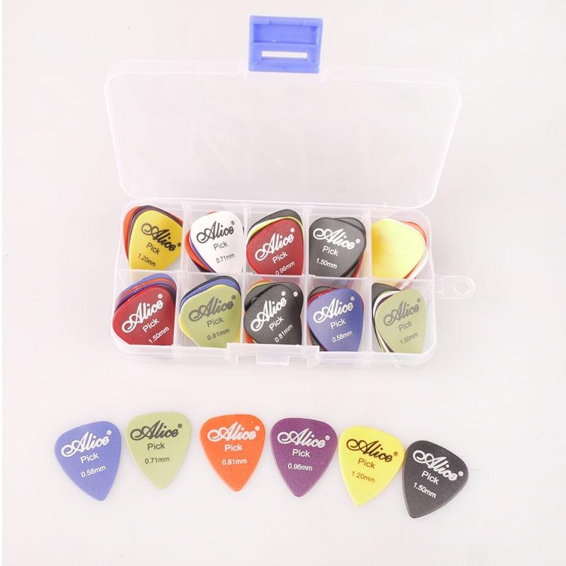 60 Matte Guitar Picks 1 Box Case Combo Alice Bass Mediator Guitarra Plectrums Holder Musical Instrument Thickness Mix 0.58-1.5