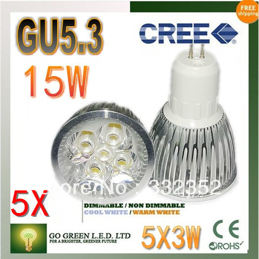Free shipping 5XHigh-power CREE led bulb GU5.3 B22 12W 15W AC85-265V Dimmable Warm/Pure/Cool white led Spotlight led lamp led