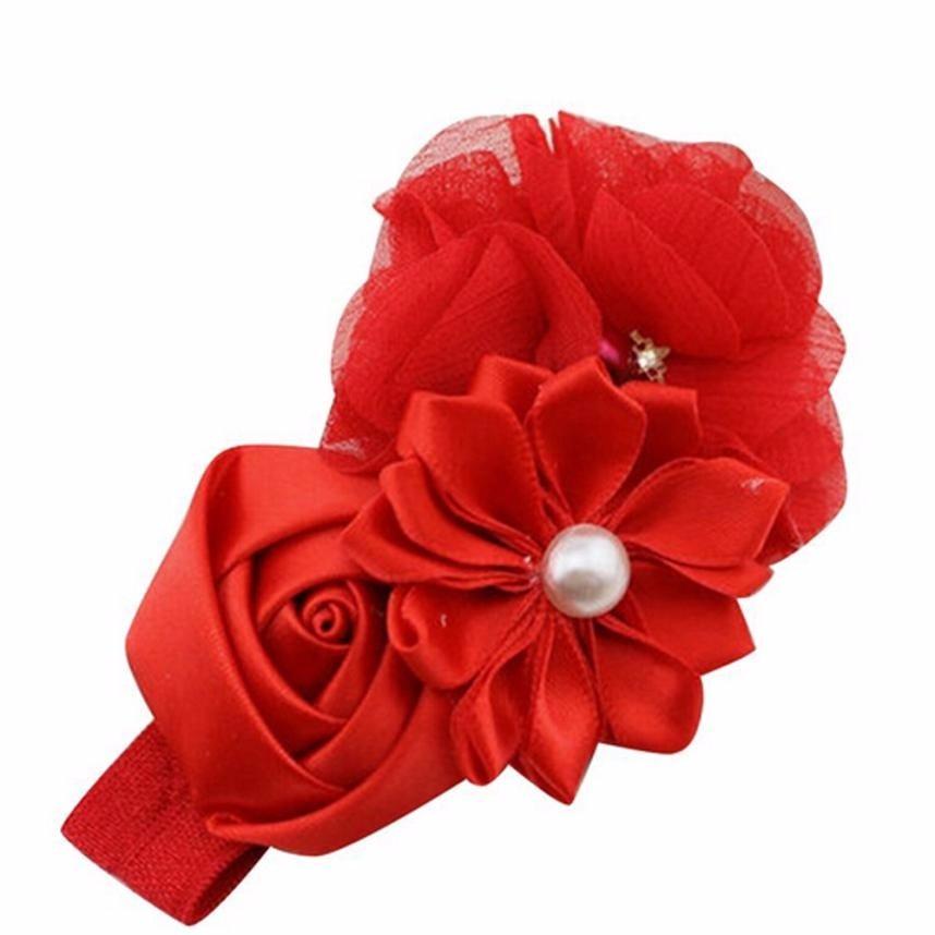 Girl Flower Pearl Hair Band Tiara Infantil Baby Kids Fashion Hair Accessories Child Floral Elastic Headband Headdress #Z