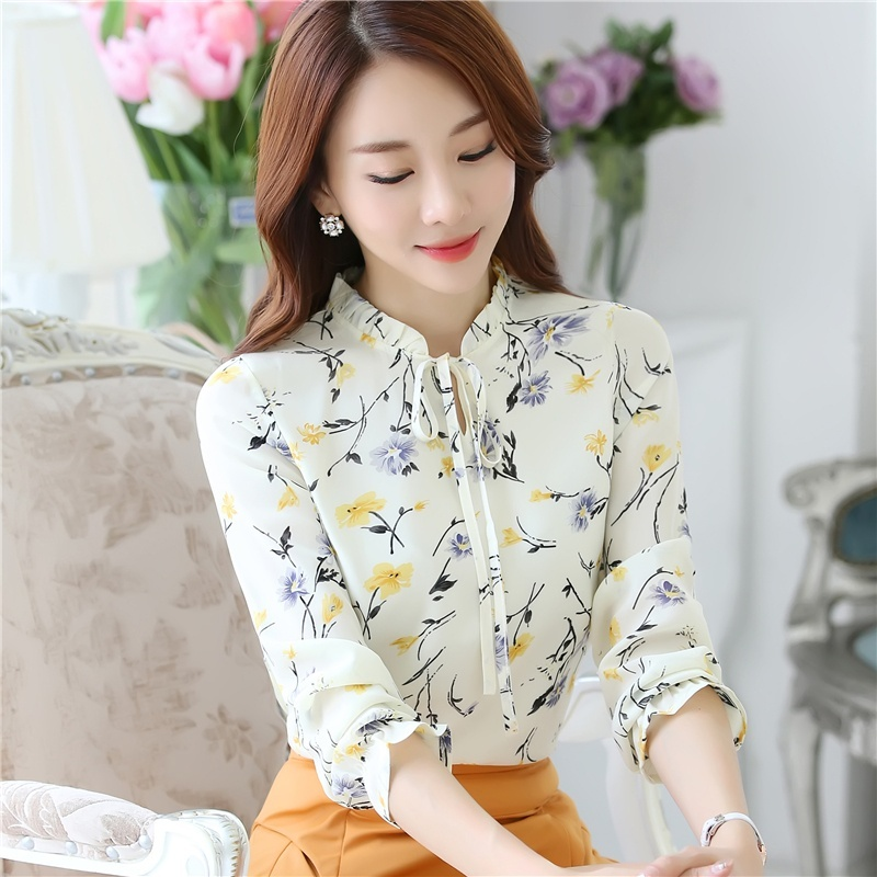 Women 39 s Shirt Long Sleeve Slim Printed Chiffon Blouse Women 2019 Spring Sweet Ladies Tops Plus Size S 3XL in Blouses amp Shirts from Women 39 s Clothing