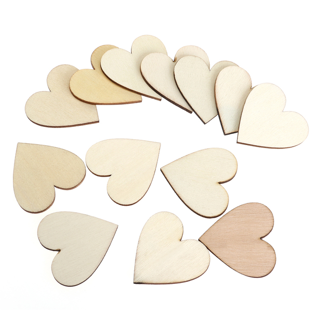 100pcs 40mm Blank Heart Wood Slices Discs Wedding Christmas Ornaments Wooden Heart Shapes Craft Wedding Guestbook Decoupage