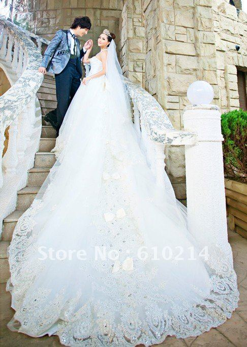 2012 Most Luxuriant Royal Cathedral Length Train Wedding Dresses ...