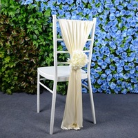 Outdoor Lawn Wedding Bamboo Chair Decoration Ice Silk Chair Sash Chair Cover Chair Back Decoration With