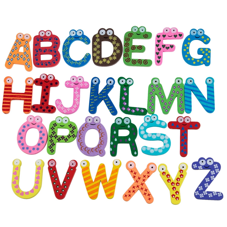 Оптовая продажа! Веселые Fun Красочные Магнитные буквы A-Z деревянные магниты малыш игрушки Образование