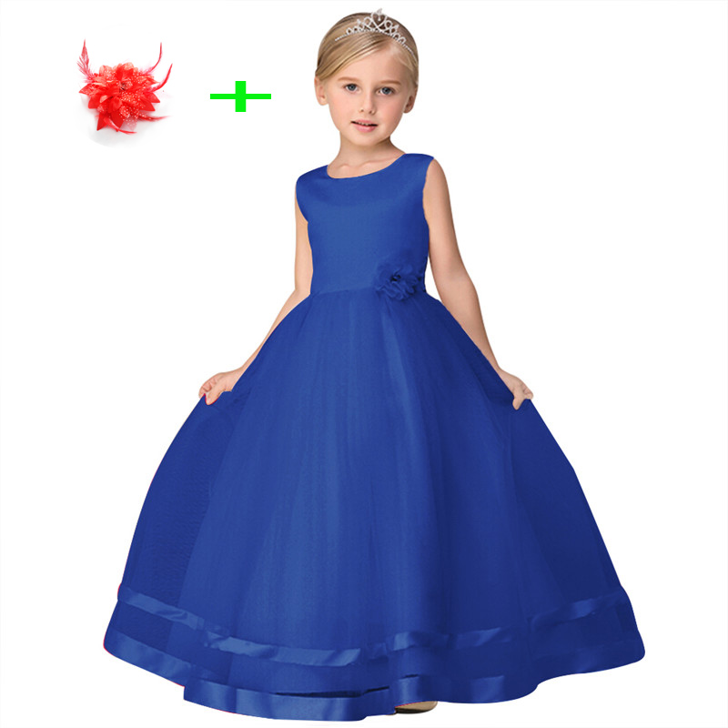 8ddd059db00f7 US $17.82 34% OFF|blue red white graduation dress for kids ball gown flower  little girls wedding party dresses for 3 to 12 year old girls-in Dresses ...