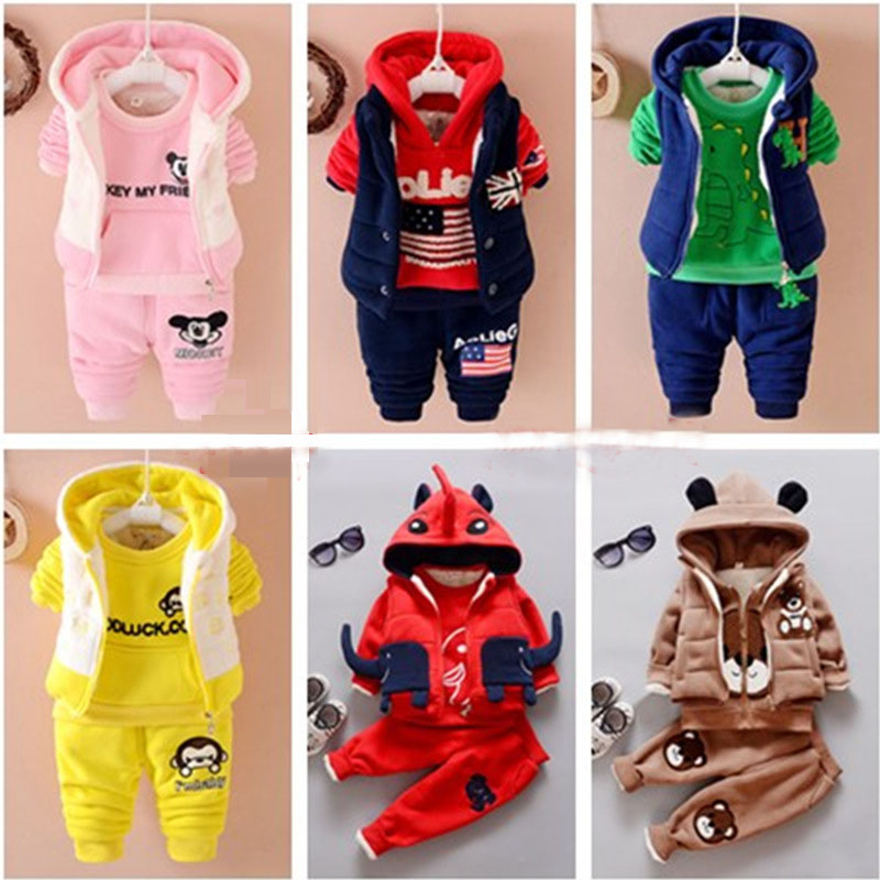 2016 New winter kids three-piece sets coat fashion cotton boys girls clothes Sports warm Plus thick velvet  brand children suits 2016 new suit boys clothes brand winter sweater for kids 3 13 year with m word three piece set boys vest pants coat a 26145