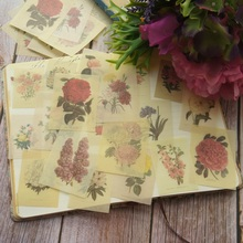38pcs Hand-painted Plant Flowers Style Paper Sticker Scrapbooking DIY Gift Packing Label Decoration Tag