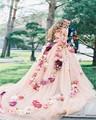 Baratos Do Vintage Flores Rosa Vestido de Noiva 2016 Sexy Um Shoulde Tulle Custom Made vestido de Baile Vestidos de Noiva Vestido de Noiva 2017