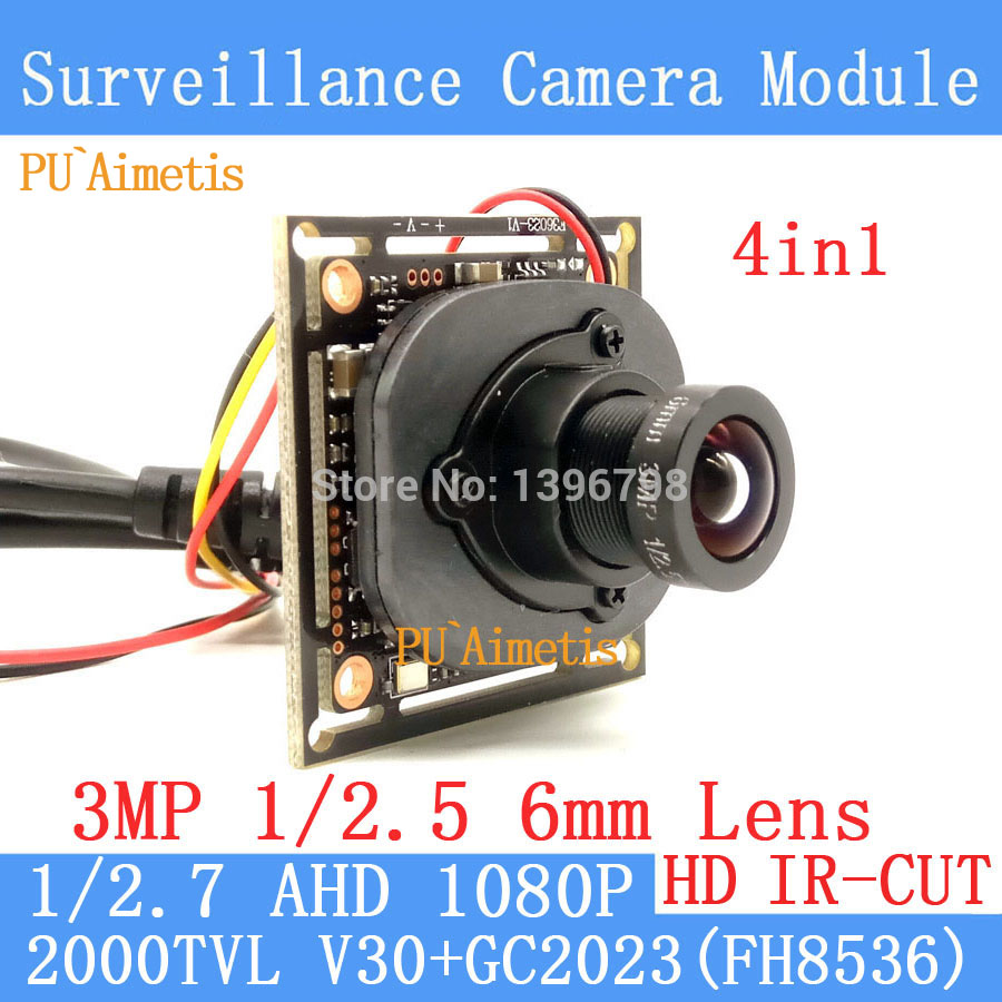 PU`Aimetis 2MP 1920*1080 AHD CCTV 1080P mini night vision Camera Module 1/2.7 V30+G2023 2000TVL 3MP-6mm Lens surveillance camera