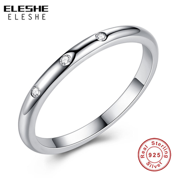 ELESHE Real 100% 925 Sterling Silver Round Finger Rings For Women Cubic Zirconia Crystal Ring Engagement Wedding Jewelry