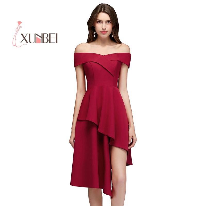 Sexy Asymmetrical Off Shoulder Bugundy   Cocktail     Dresses   2019 Mini   Dress   Satin Short Prom   Dress   Vestidos 2019   Cocktail     Dress