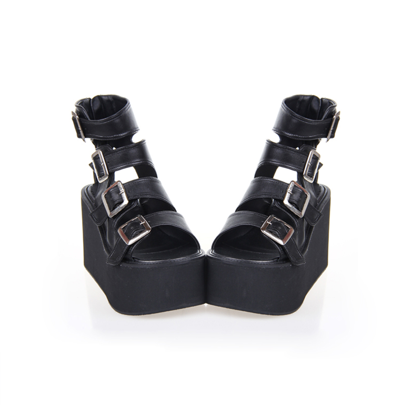35 Plattform Sommer Damen Frauen Cosplay Hohe 46 Rock Mode Ferse weiß Lolita Neue Angelic Sandalen Punk Schuhe Impressum Schwarzes 6013 qZx1xwgF