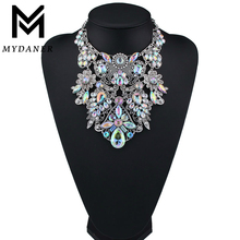MYDANER Fashion Brand Rhinestone Multicolored Bohemian Good Quality Chunky Collar Women Choker Maxi Statement Necklace Jewelry