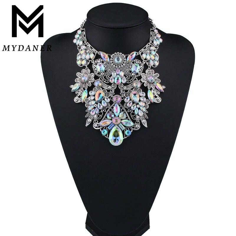 Myanmar moda marca rhinestone multicolor Bohemia buena calidad chunky collar mujeres choker Maxi declaración collar joyería