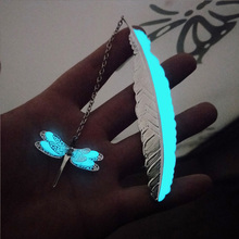 Kawaii Silver Metal Feather Bookmarks Luminous Dragonfly Butterfly For Books Office Stationery Gifts School Supplies