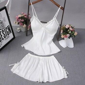 XXL Pajamas for Women Sexy Lingerie Summer Satin Silk Nightwear V Neck Spaghetti Strap Lace Sleepwear Pyjamas Pijama Clearance недорого