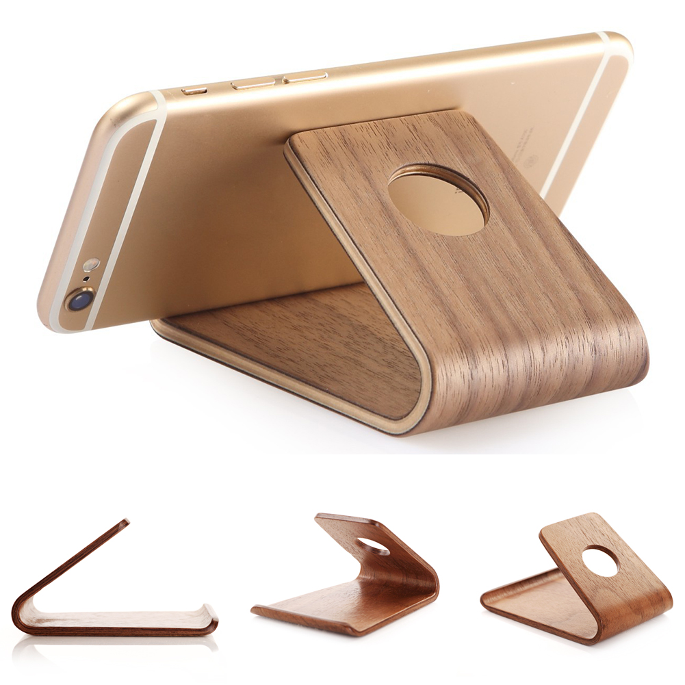 DEHAIW Universal Wood Wooden Holder Desktop Stand Bracket For IPhone  Cell Phone(3)