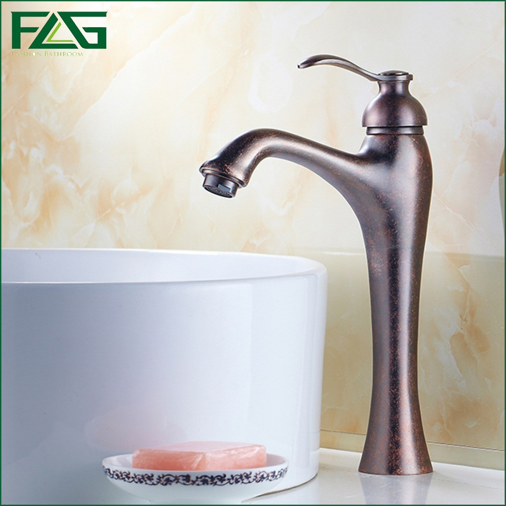 ФОТО FLG English Style Basin Faucet Roman Red Bronze Colour Torneira Do Banheiro Single Lever Deck Mounted Red Faucet Tlf Mixer M187