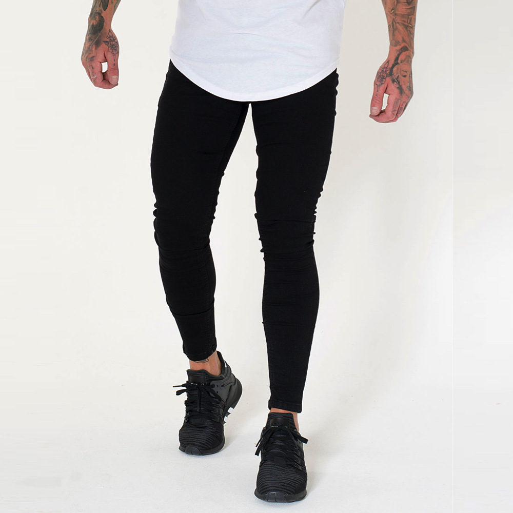 Wholesale 2019 Fashion Casual Black show thin denim Skinny   jeans   men hip hop motorcycle Biker nightclub Pencil pants men