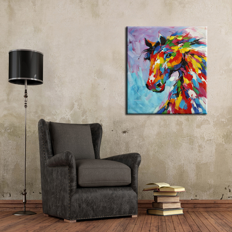 Aliexpress Buy Knife Oil Painting Horse On Canvas Abstract Living Room Wall Art Decor Handmade Paintings From