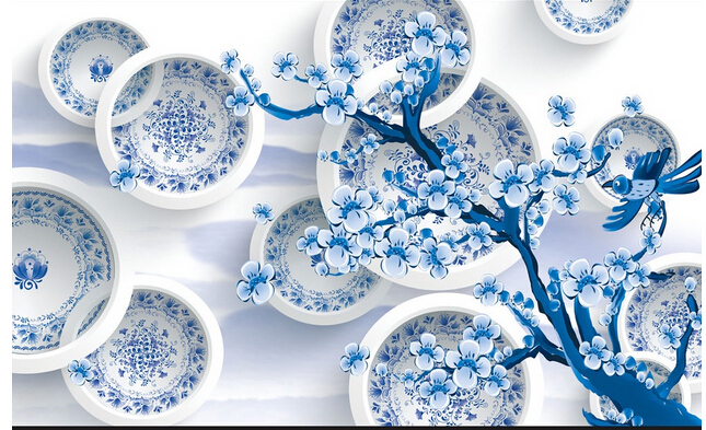 Buy 3d blue and white photo wallpaper for for Where can i purchase wallpaper