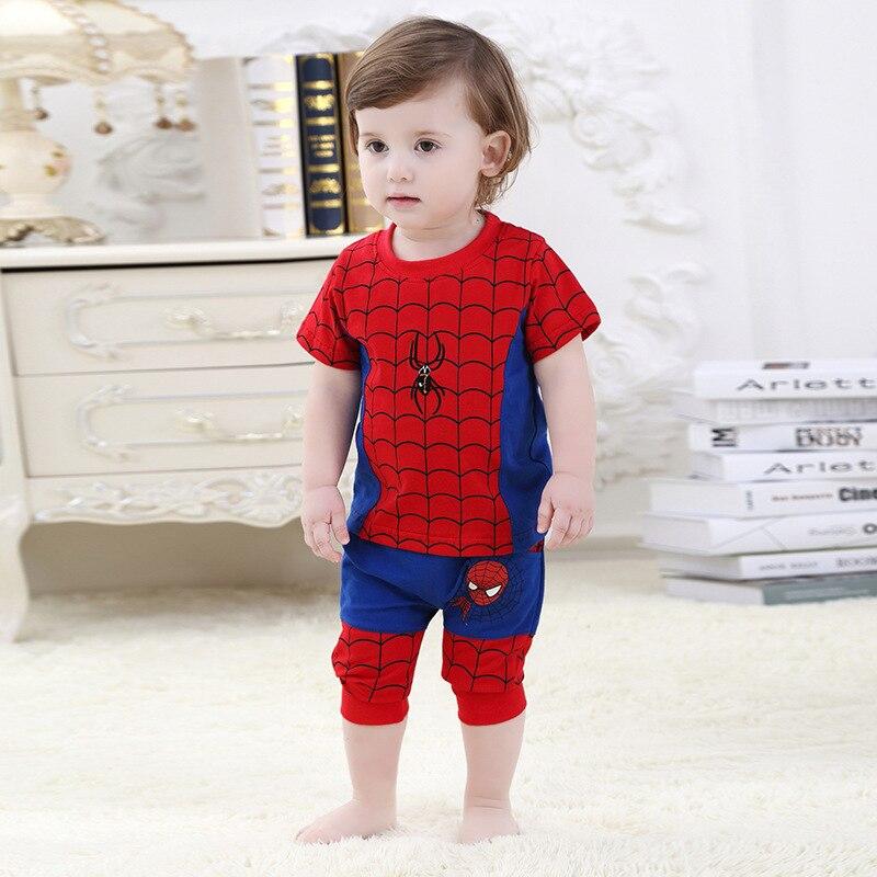Cute Cartoon Spider Cosplay Baby Clothes Set 0-24 Monthes Newborn Boys Girls Infant Design Summer Short Sleeve Pure Cotton