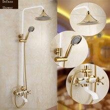 Dofaso NEU kommen luxus brausegarnitur wasserhahn dusche set in bad & dusche wasserhahn mit gold und weiße dusche set