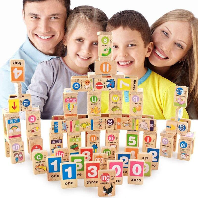 Gebäude & Konstruktionsspielzeug 100 Pcs/set Standard Holz Domino Chinesischen Pinyin Digitale Domino Blöcke Kinder Pädagogisches Spielzeug Kinder Spielzeug