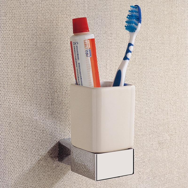 Ceramic Toothbrush Holder Brass Wall Mounted Chrome Single Tumbler Holder For Free Shipping