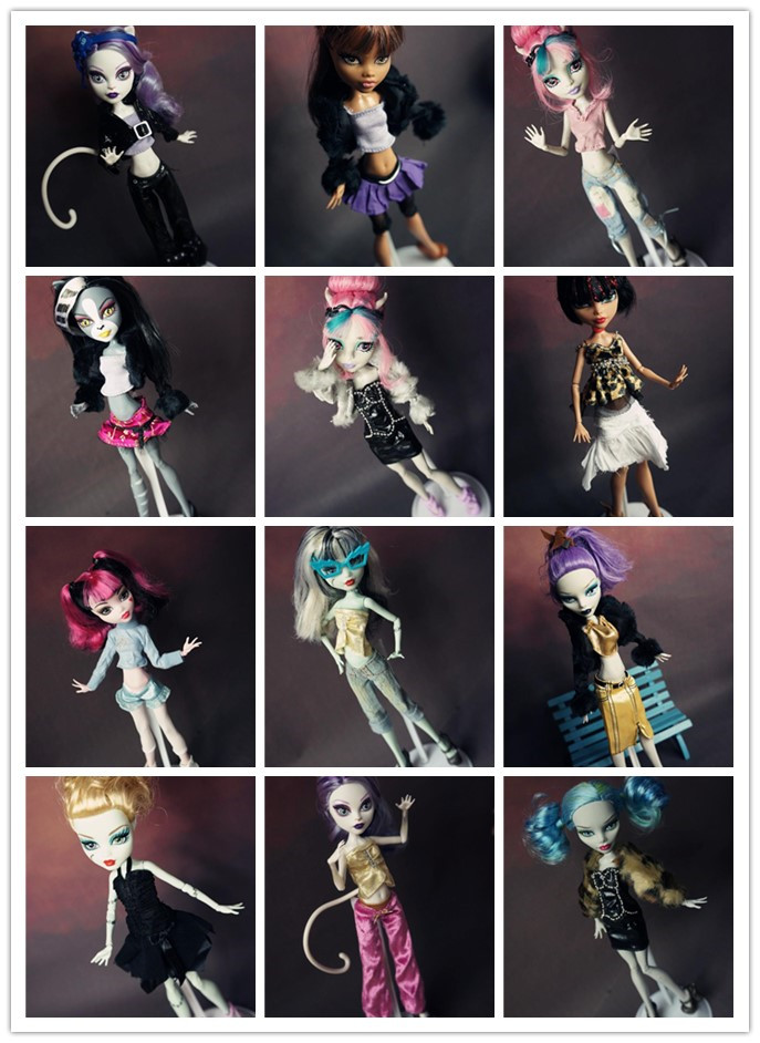Նոր 15 հատ = հագուստ + կոշիկ Monster High տիկնիկների համար, շատ պատահական կոստյում Բնօրինակ հագուստի տիկնիկի զգեստ Monster Hight տիկնիկների 1/6 համար