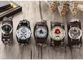 2016 Vintage Retro Casual Reloj de Señora Women Reloj Nuevo Reloj de Cuarzo de Cuero de Moda Punk Cráneo Estilo Relogio feminino 10 unids