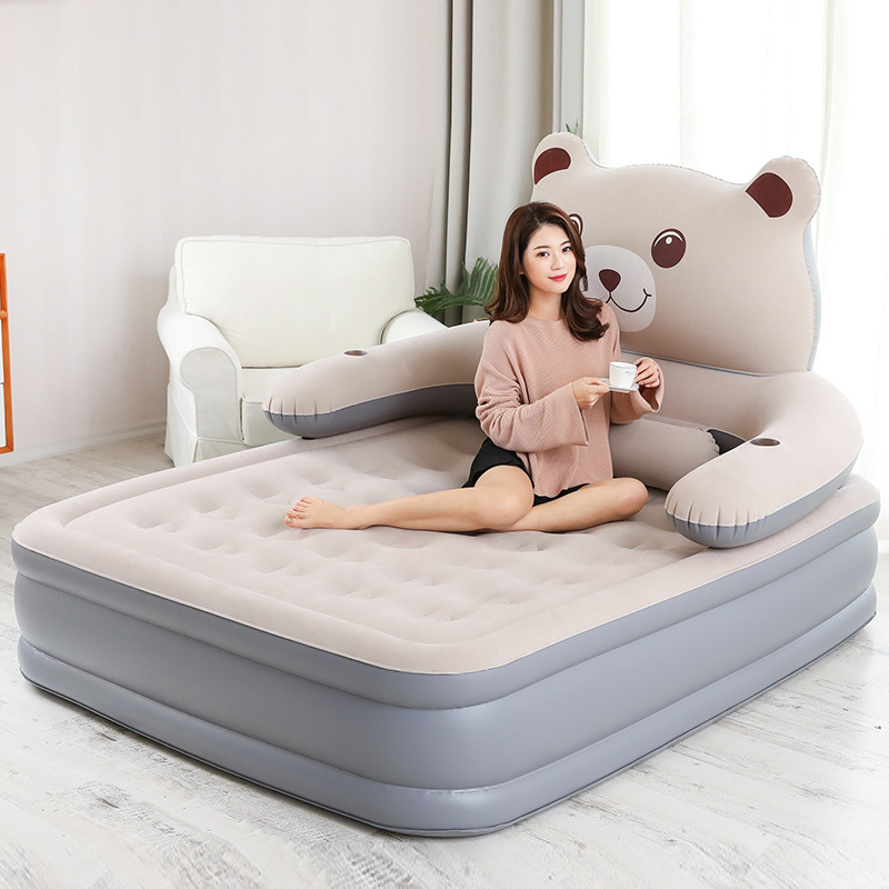 2 Person Couple Inflatable Air Bed Cartoon Back Mattress Home Bedroom Air Mattress Beach Mat lazy sofa Inflatable Bed