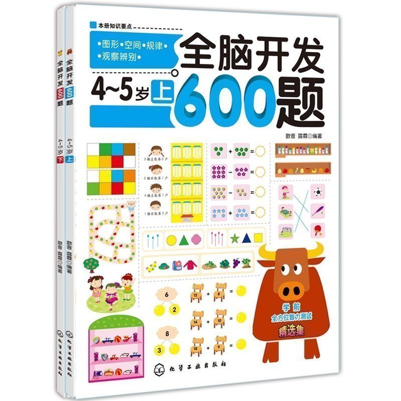 2pcs 600 Questions For Whole Brain Development Fun Mathematical Thinking Training Children Intelligence Development Game Book
