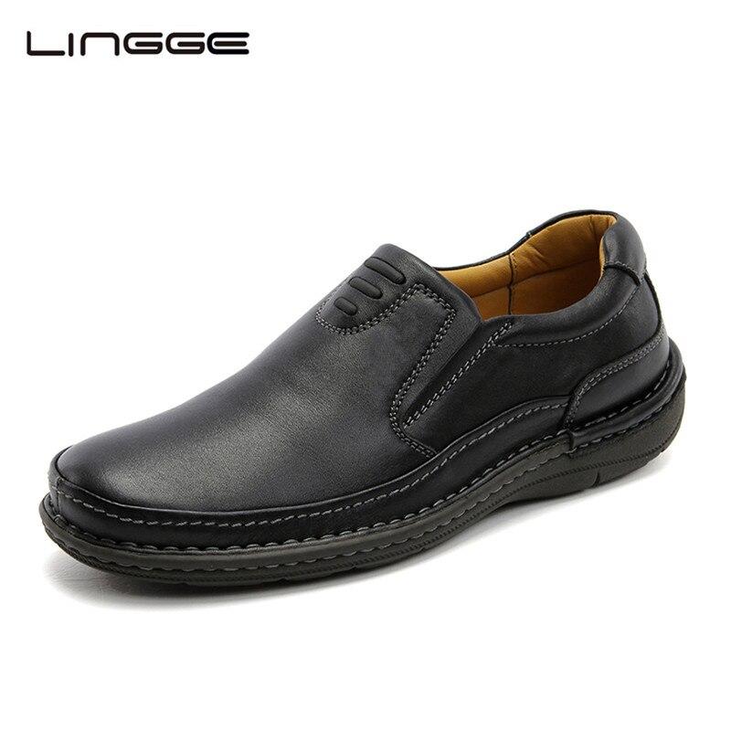 LINGGE Cuero Calzado Casual Para Hombres NEGRO 100% Real Leather Slip-On 2017 Nu