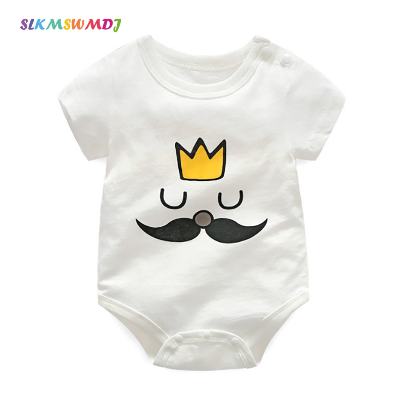 SLKMSWMDJ Summer Cotton Cartoon Baby Onesies Boys Girls Baby Onesies Short Sleeve Body Suits Baby Clothing For 3M - 2 Years old