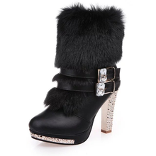 цены Women's Snow Boots 2018 Winter New Fur Warm Ankle Boots Women Fashion with High Heel Thick Heel Rhinestones Martin Boots Female