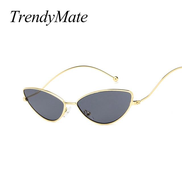 7a285166a6e4a Pequeno Gato óculos de Sol Olho para As Mulheres Masculino Armação De Metal  Retro Amarelo vermelho