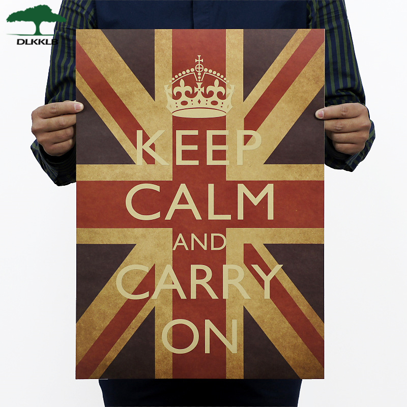 Dlkklb Classic Anti-war Poster Keep Calm Carry On British World War Ii Kraft Paper Retro Poster Decor Wall Sticker 51.5x36cm