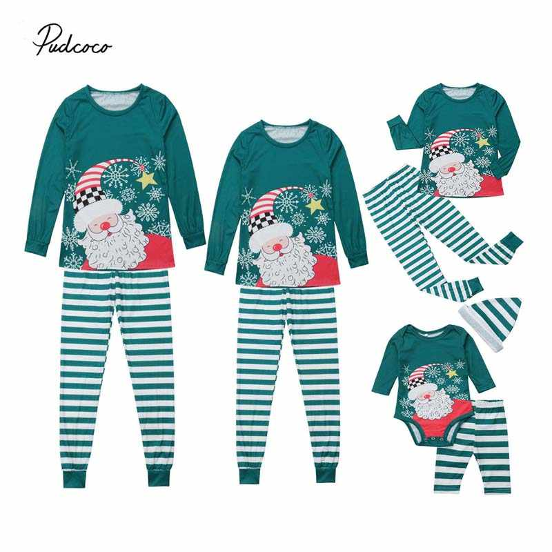 f4d9a00841 Pudcoco 2018 Christmas Family Matching Pajamas Kids Mom Dad PJs Sets  Sleepwear Xmas Stripe Nightwear Cotton