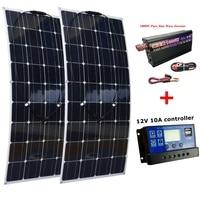 2*100W Solar Panels+1000W Pure Sine Wave Inverter+12V/24V 10 Solar Charge Controller Houseuse 200W Solar System