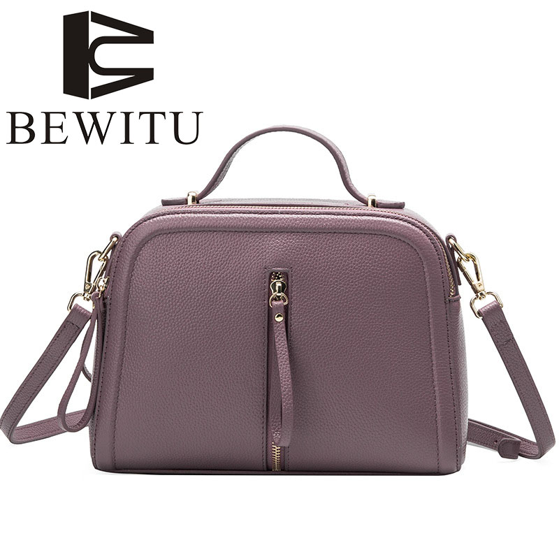 BEWITU 2017 new fashion leather shoulder bag women's first layer of leather small square oblique cross-Korean wild package cadmium from earth crust to fish tissues