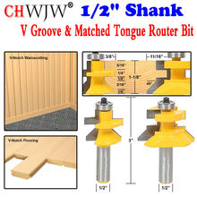 2pc 1/2″ Shank V Groove & Matched Tongue Router Bit Set w/ premium ball bearings Woodworking cutter