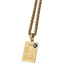 Мусульманское ожерелье zkd с подвеской из нержавеющей стали с четырьмя искусственными элементами