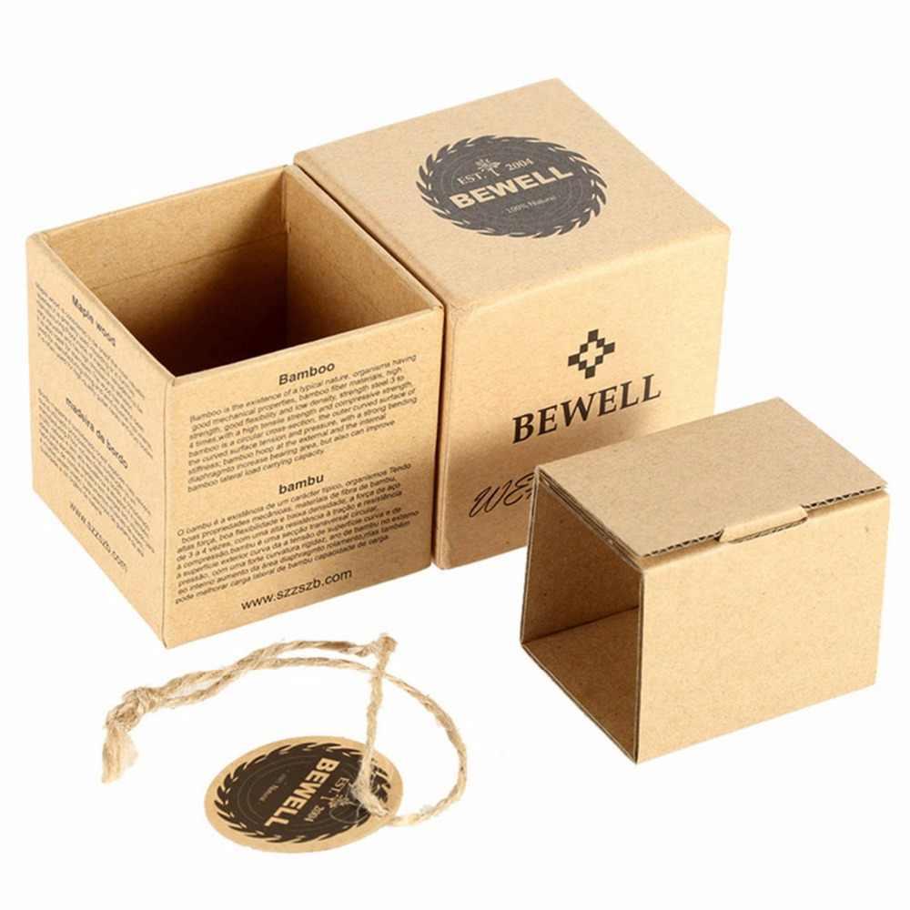 Relojes de madera multifunción BEWELL para hombre, reloj de pulsera Digital de doble zona horaria, reloj despertador rectangular con caja de reloj 021A